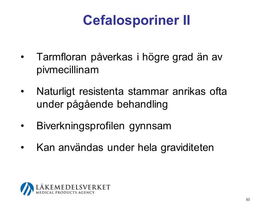 Cefalosporiner II Tarmfloran påverkas i högre grad än av pivmecillinam