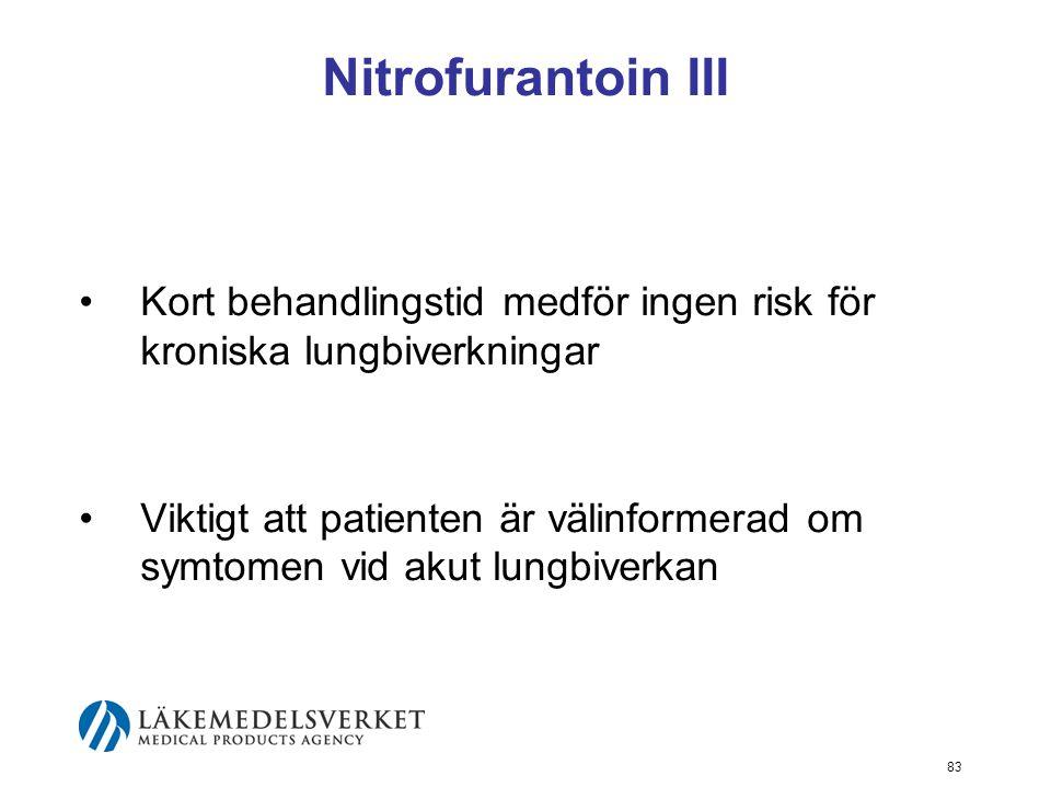 Nitrofurantoin III Kort behandlingstid medför ingen risk för kroniska lungbiverkningar.