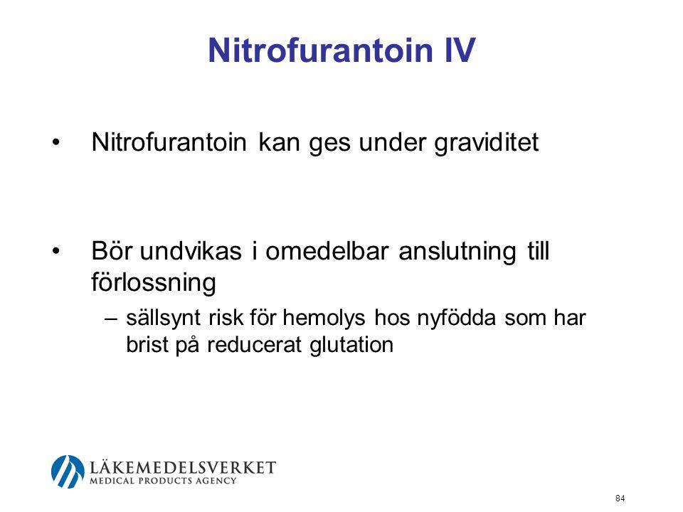 Nitrofurantoin IV Nitrofurantoin kan ges under graviditet