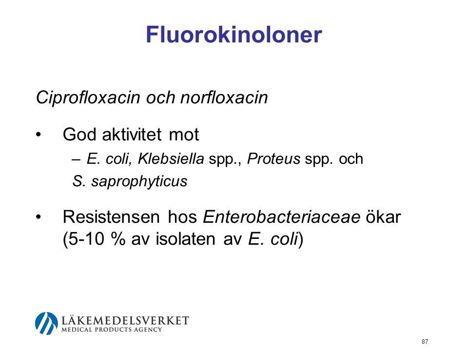 Fluorokinoloner Ciprofloxacin och norfloxacin God aktivitet mot