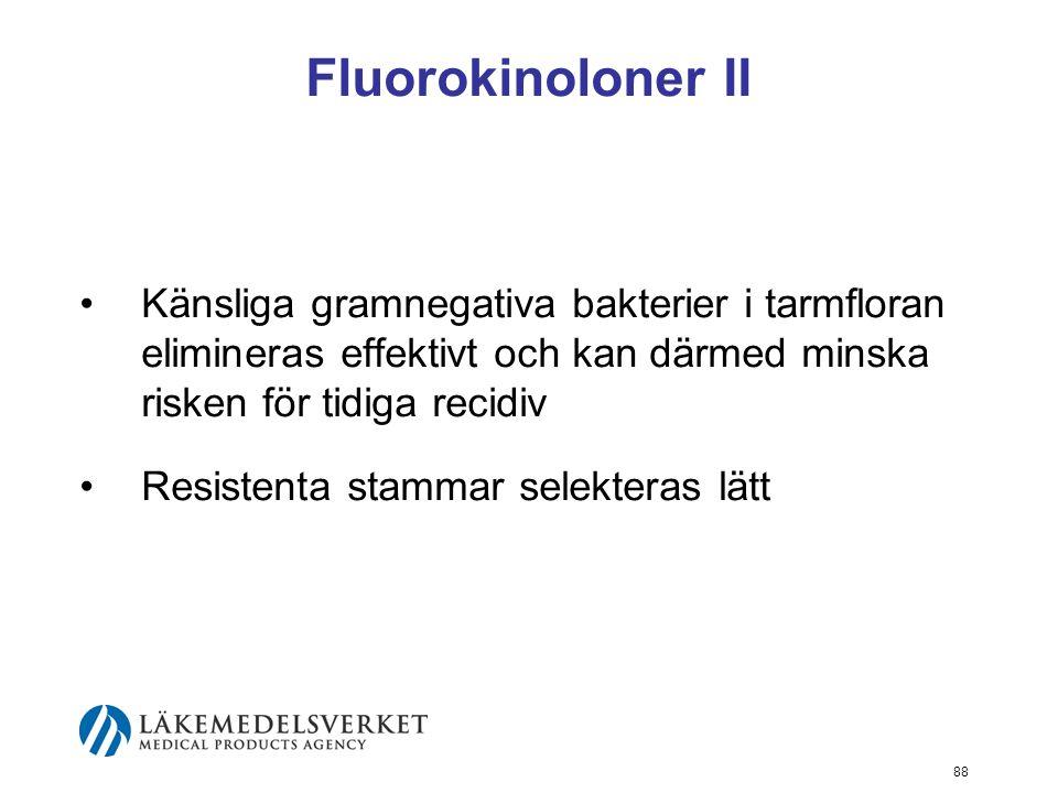 Fluorokinoloner II Känsliga gramnegativa bakterier i tarmfloran elimineras effektivt och kan därmed minska risken för tidiga recidiv.