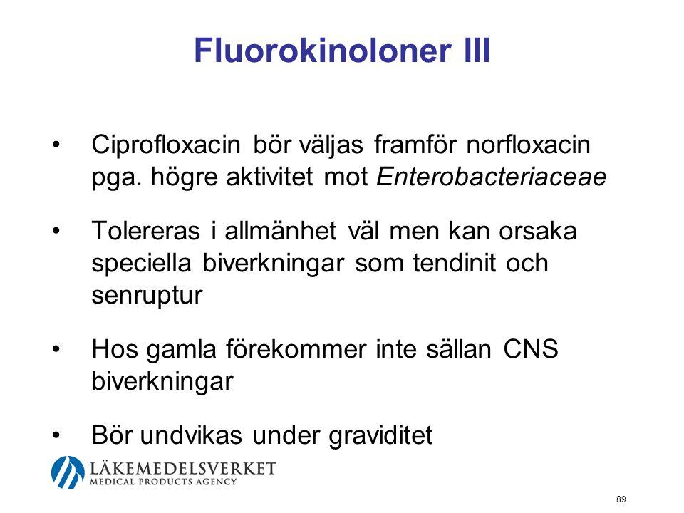 Fluorokinoloner III Ciprofloxacin bör väljas framför norfloxacin pga. högre aktivitet mot Enterobacteriaceae.