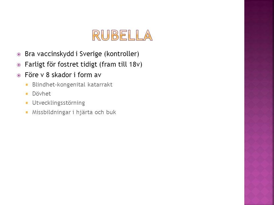 RUBELLA Bra vaccinskydd i Sverige (kontroller)