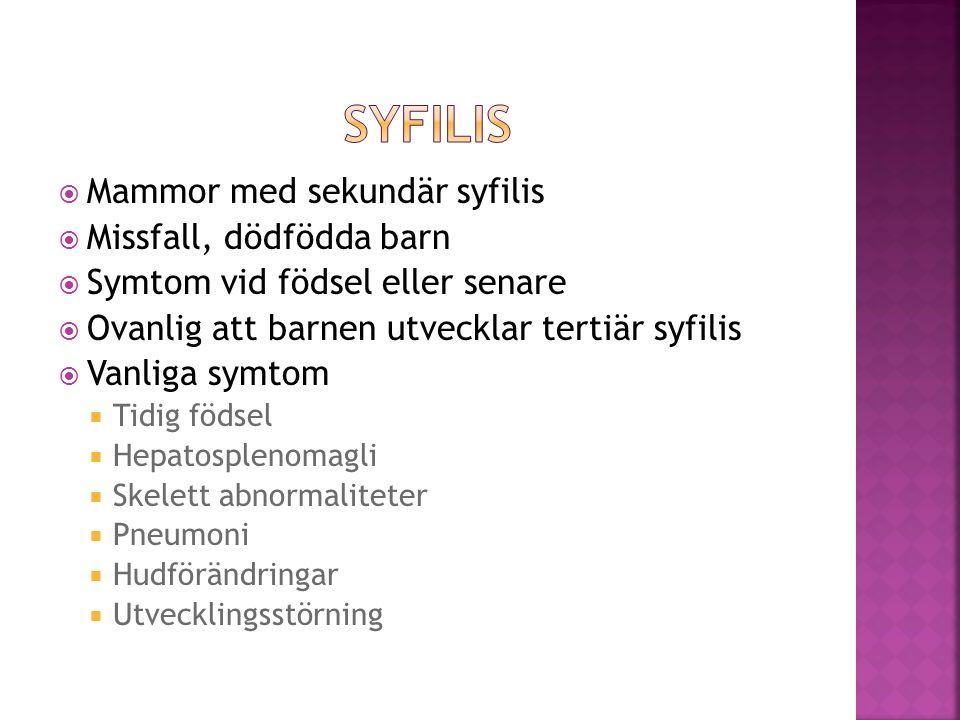 Syfilis Mammor med sekundär syfilis Missfall, dödfödda barn