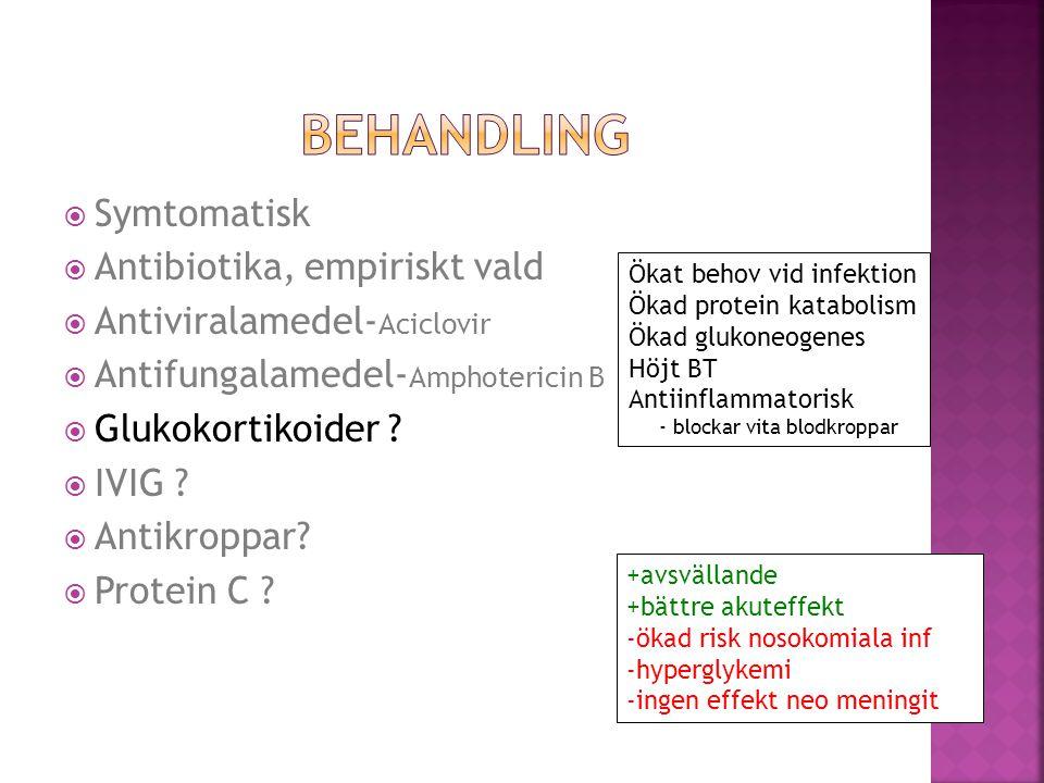 BEHANDLING Symtomatisk Antibiotika, empiriskt vald