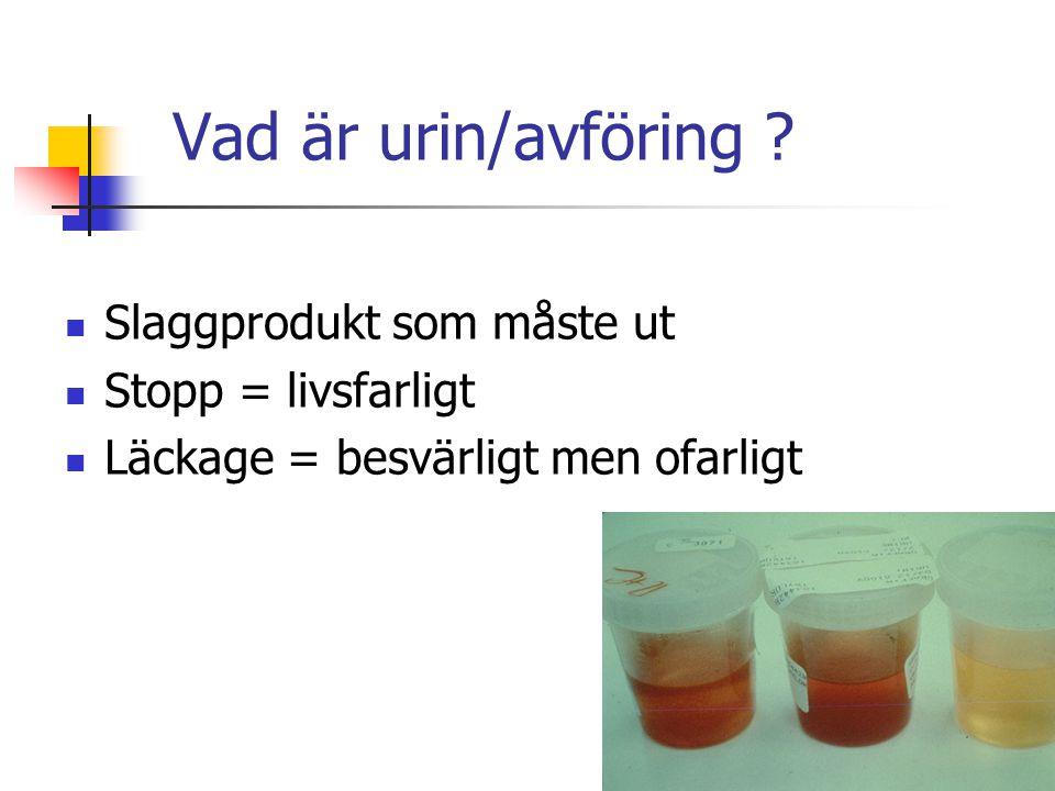 Vad är urin/avföring Slaggprodukt som måste ut Stopp = livsfarligt