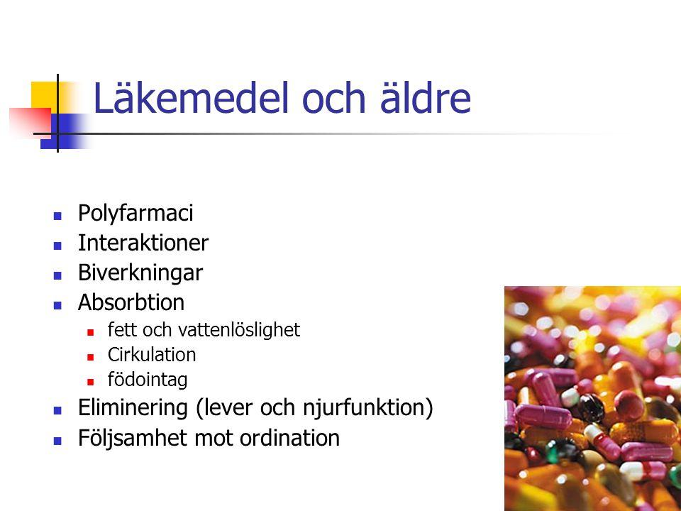 Läkemedel och äldre Polyfarmaci Interaktioner Biverkningar Absorbtion