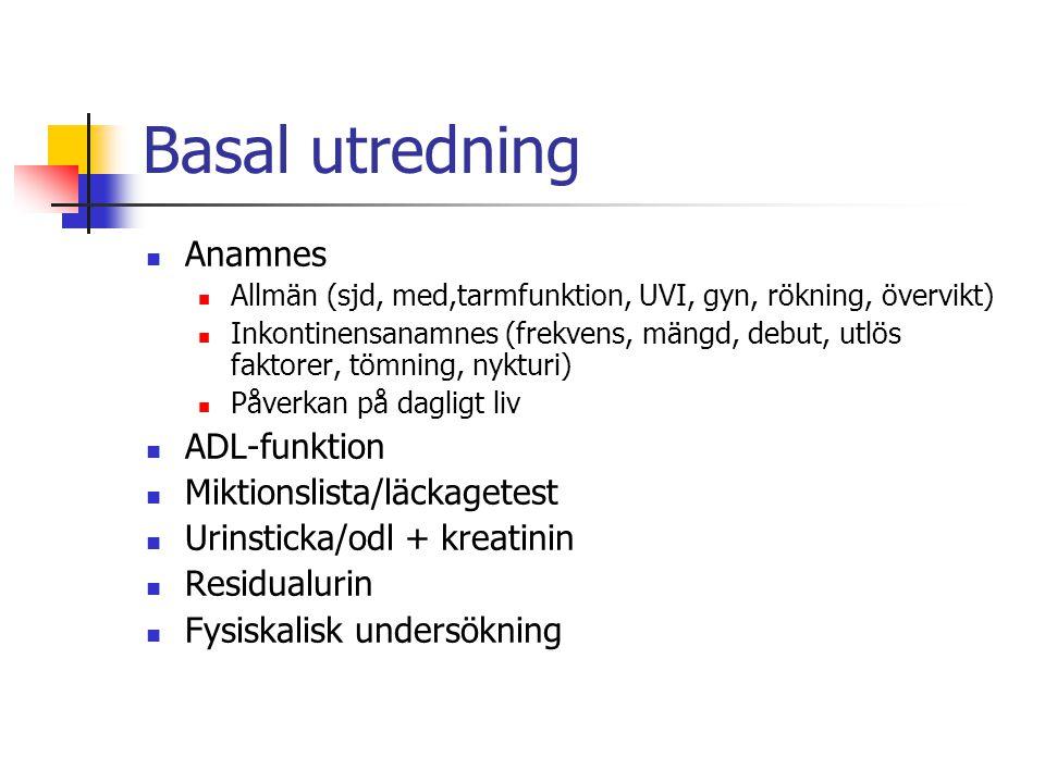Basal utredning Anamnes ADL-funktion Miktionslista/läckagetest