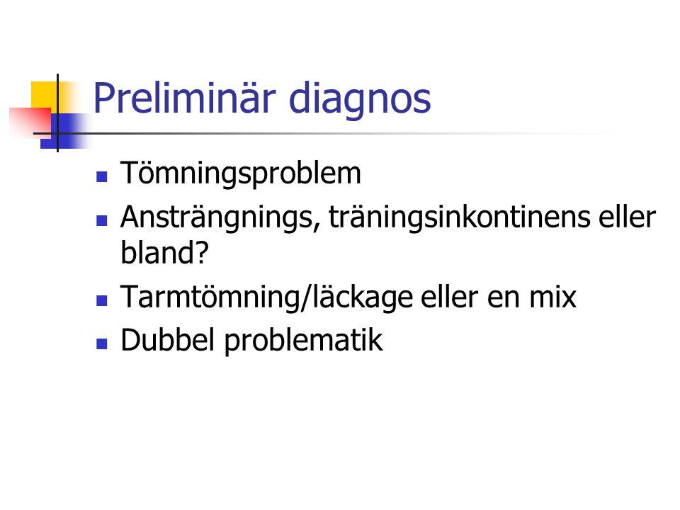 Preliminär diagnos Tömningsproblem