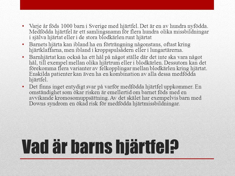 Varje år föds 1000 barn i Sverige med hjärtfel