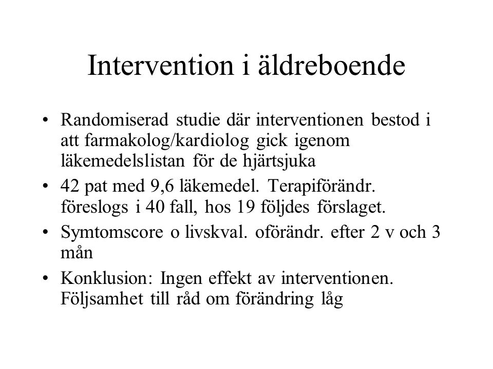 Intervention i äldreboende