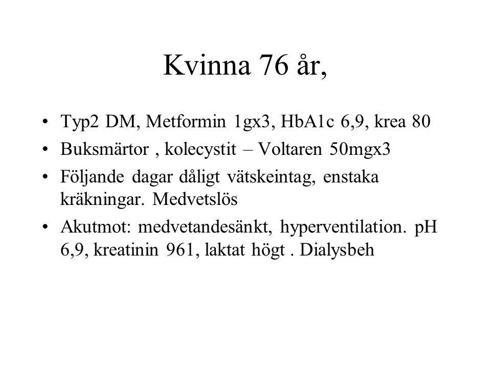 Kvinna 76 år, Typ2 DM, Metformin 1gx3, HbA1c 6,9, krea 80