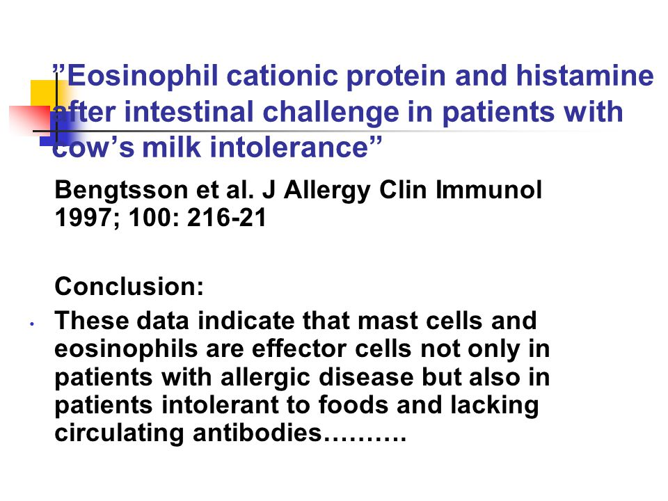 Eosinophil cationic protein and histamine after intestinal challenge in patients with cow's milk intolerance