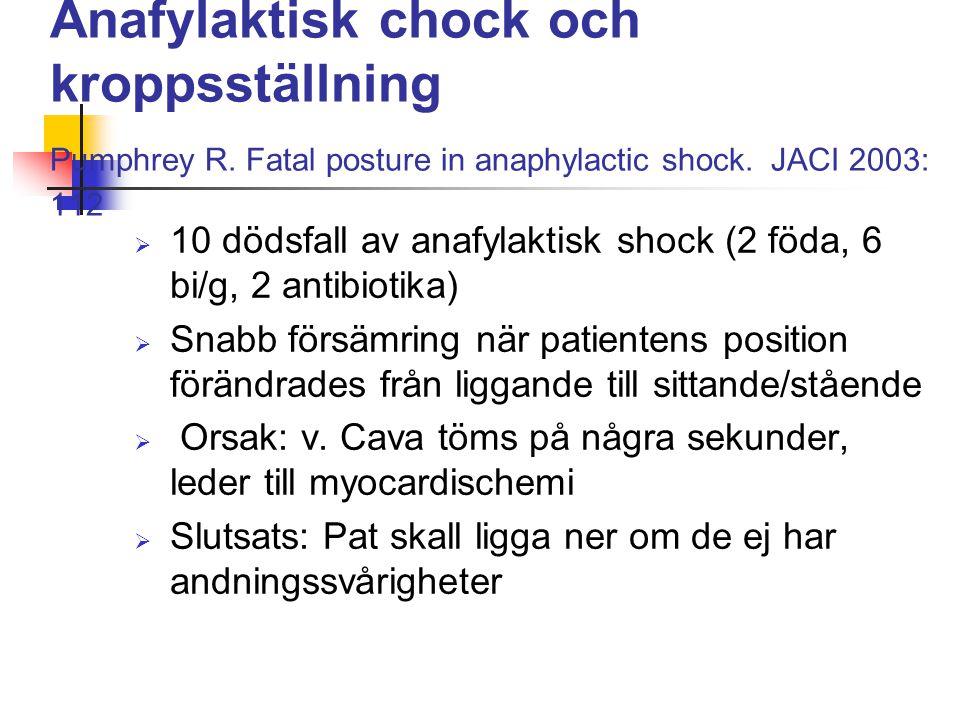 Anafylaktisk chock och kroppsställning Pumphrey R