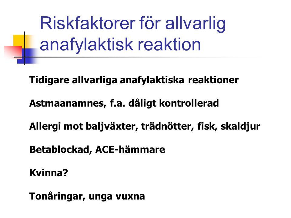 Riskfaktorer för allvarlig anafylaktisk reaktion