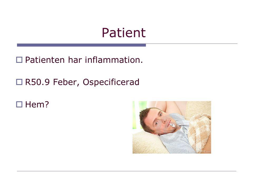 Patient Patienten har inflammation. R50.9 Feber, Ospecificerad Hem