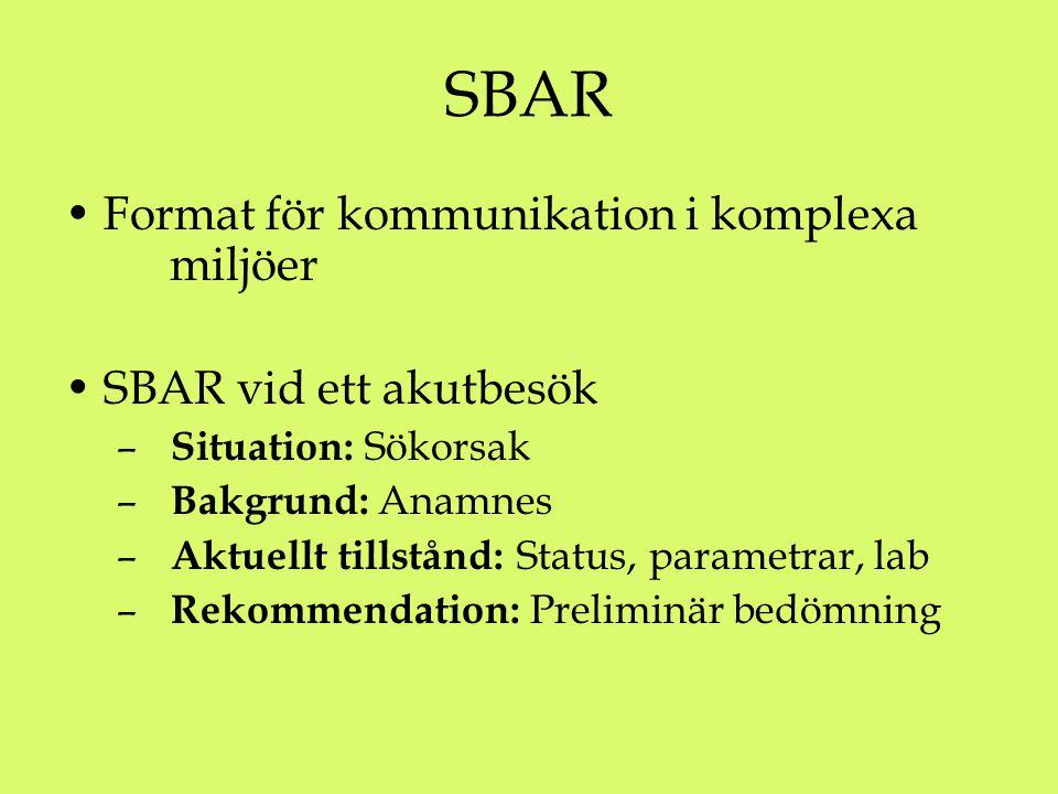 SBAR Format för kommunikation i komplexa miljöer