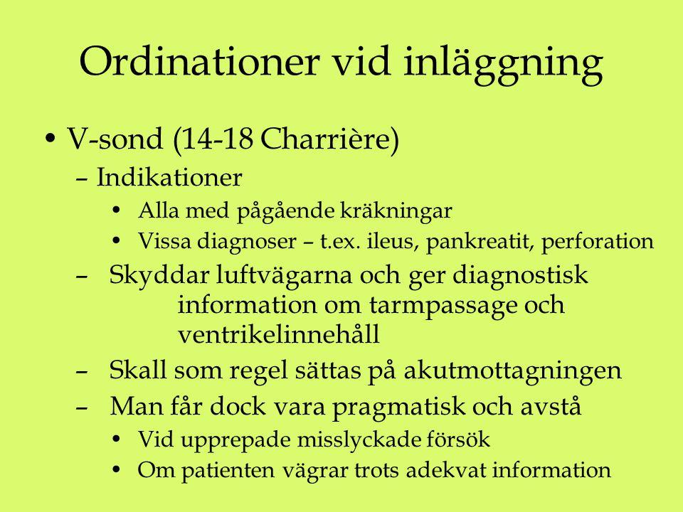 Ordinationer vid inläggning