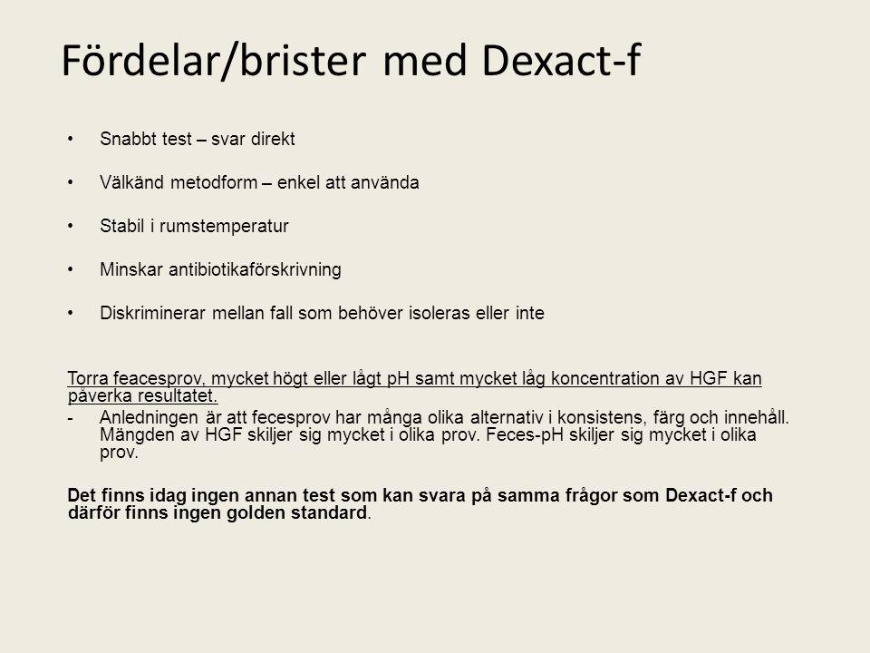 Fördelar/brister med Dexact-f