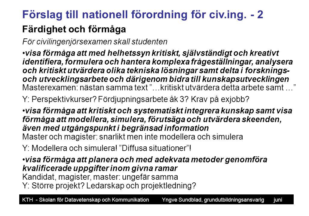Förslag till nationell förordning för civ.ing. - 2