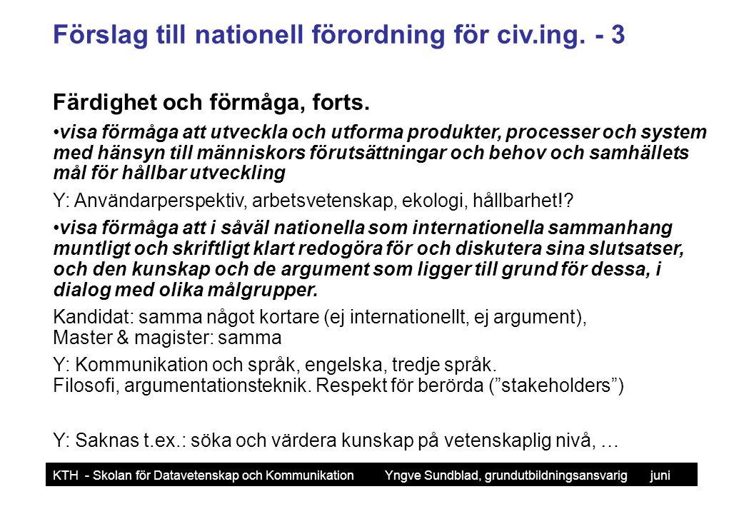 Förslag till nationell förordning för civ.ing. - 3