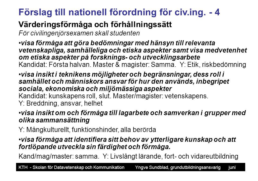 Förslag till nationell förordning för civ.ing. - 4