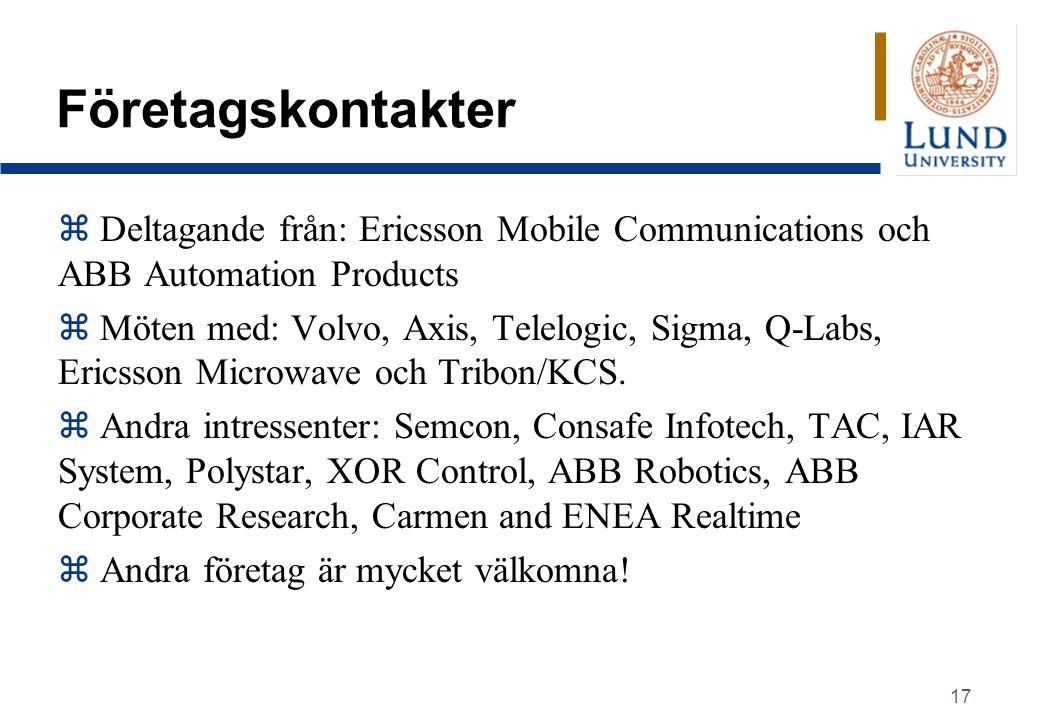 Företagskontakter Deltagande från: Ericsson Mobile Communications och ABB Automation Products.