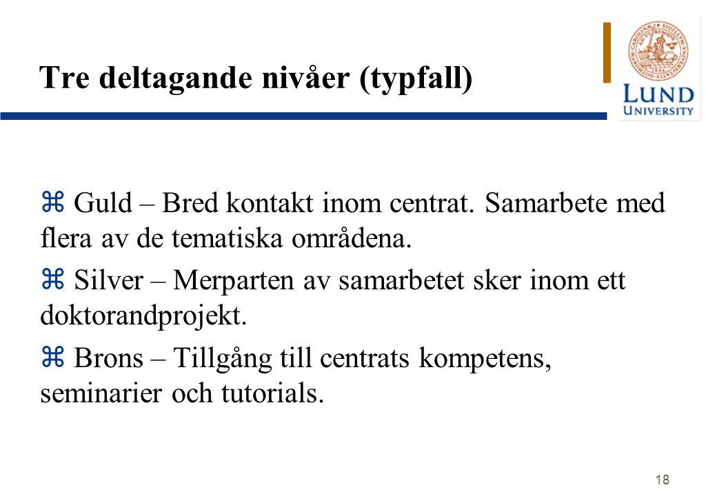 Tre deltagande nivåer (typfall)