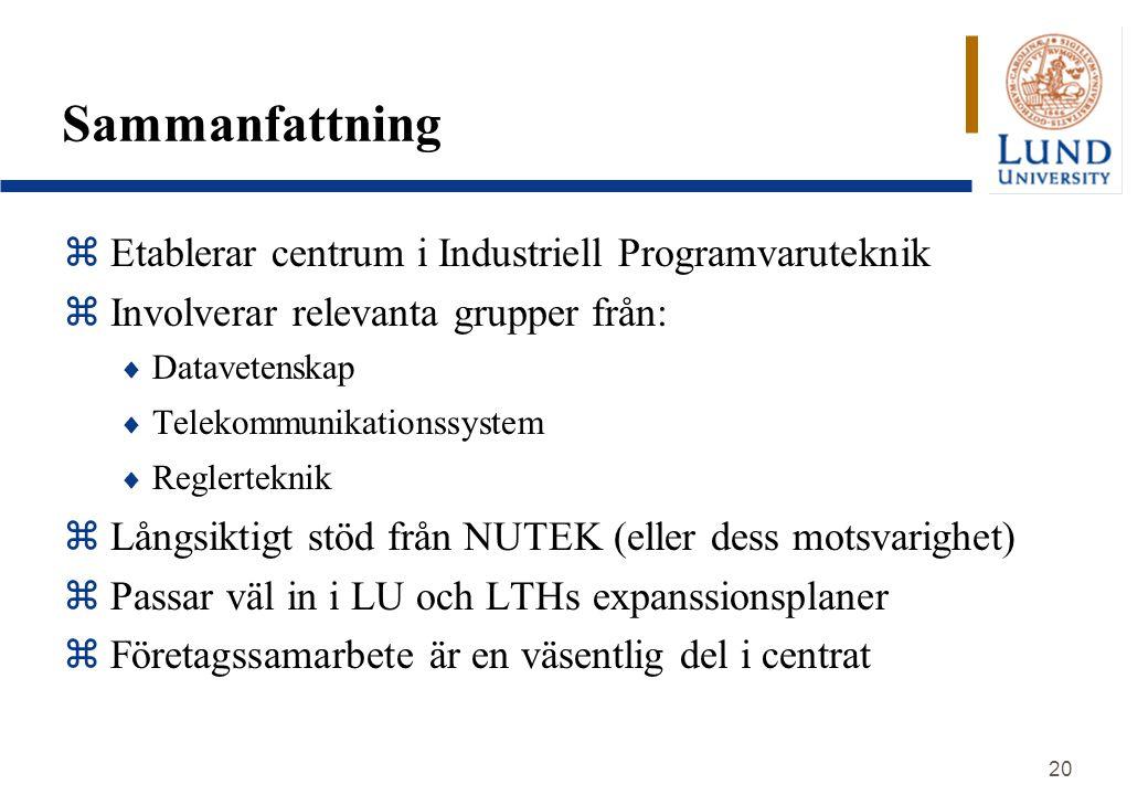 Sammanfattning Etablerar centrum i Industriell Programvaruteknik