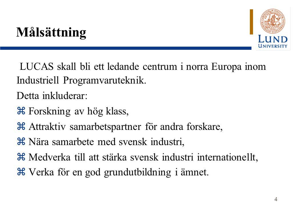 Målsättning LUCAS skall bli ett ledande centrum i norra Europa inom Industriell Programvaruteknik. Detta inkluderar: