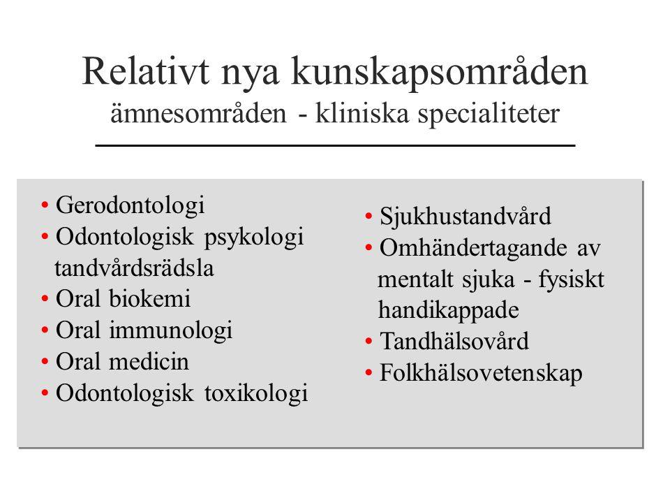Relativt nya kunskapsområden ämnesområden - kliniska specialiteter