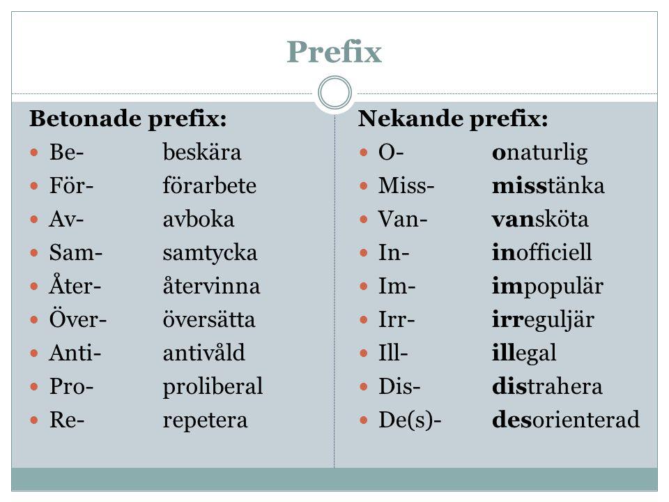 Prefix Betonade prefix: Be- beskära För- förarbete Av- avboka