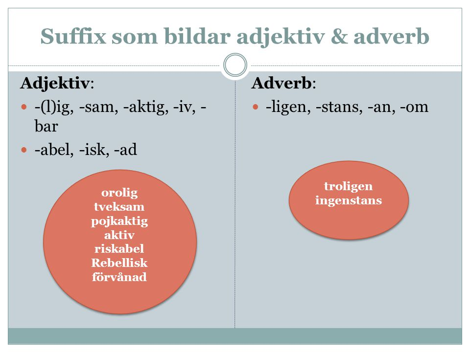 Suffix som bildar adjektiv & adverb