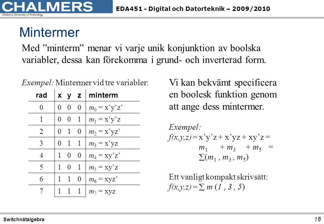 Mintermer Med minterm menar vi varje unik konjunktion av boolska variabler, dessa kan förekomma i grund- och inverterad form.