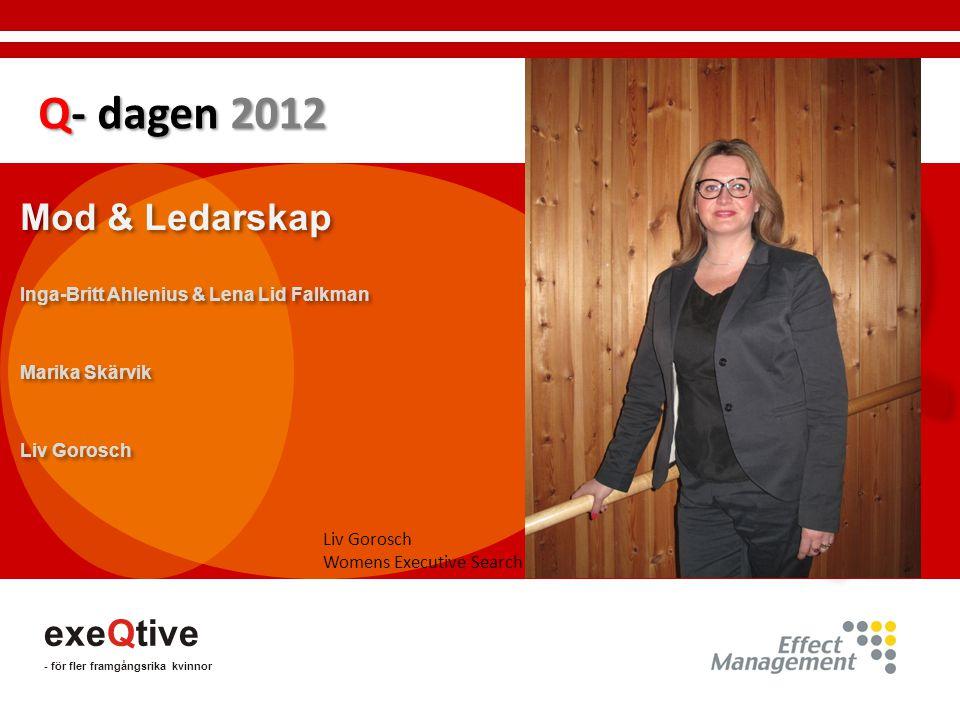 Q Q Q- dagen 2012 Mod & Ledarskap exeQtive Q- dagen 2012