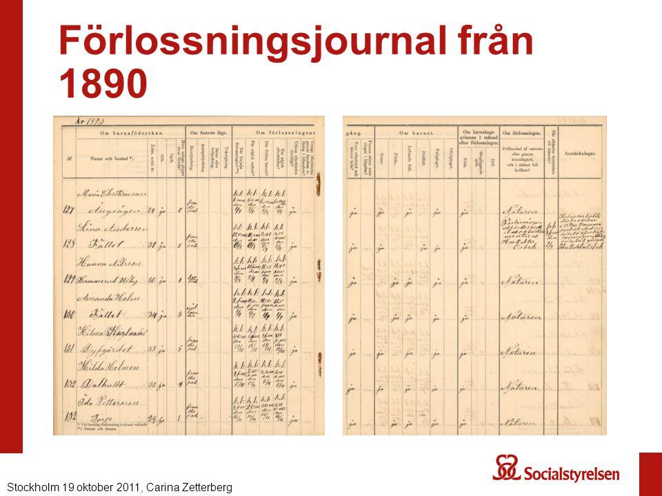 Förlossningsjournal från 1890