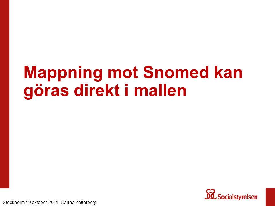 Mappning mot Snomed kan göras direkt i mallen