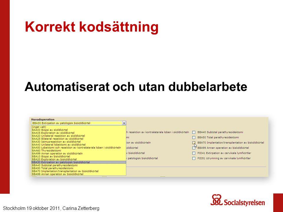 Korrekt kodsättning Automatiserat och utan dubbelarbete