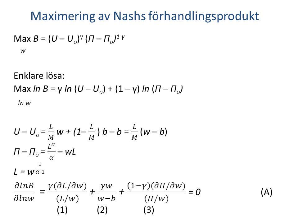 𝜕𝑙𝑛𝐵 𝜕𝑙𝑛𝑤 = 𝛾(𝜕𝐿/𝜕𝑤) (𝐿/𝑤) + 𝛾𝑤 𝑤−𝑏 + 1−𝛾 (𝜕𝛱/𝜕𝑤) (𝛱/𝑤) = 0 (A)