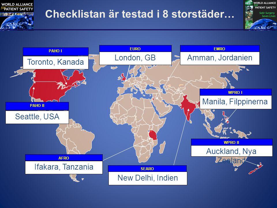 Checklistan är testad i 8 storstäder…