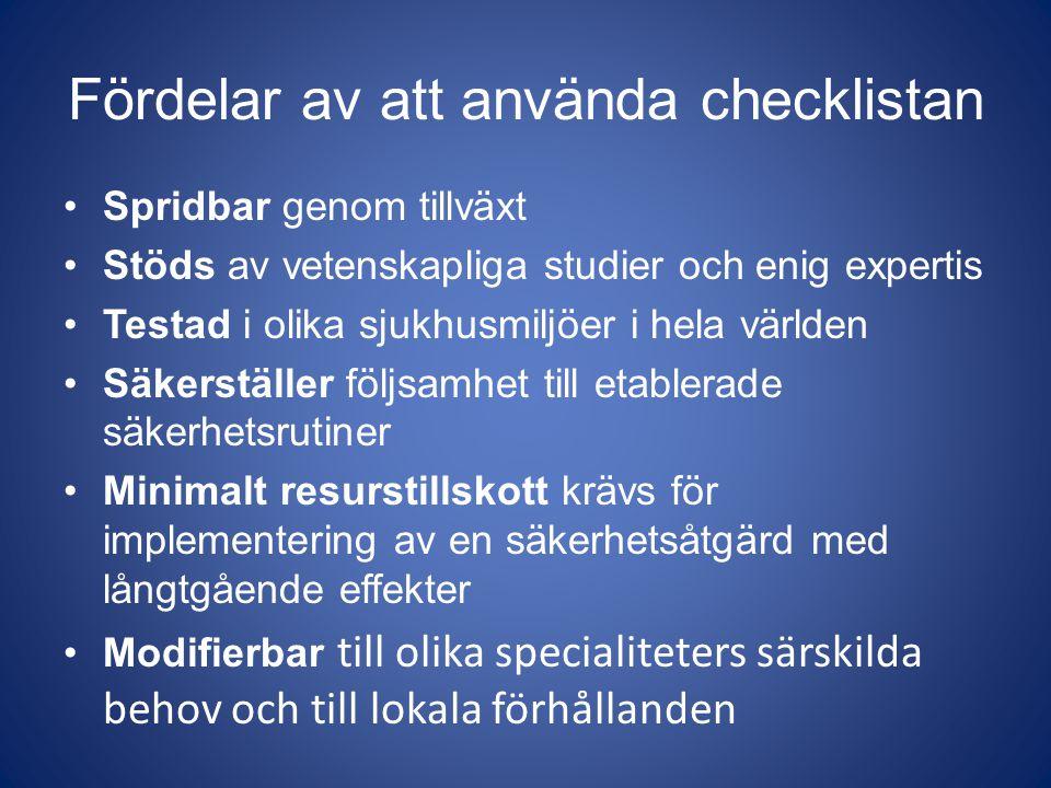 Fördelar av att använda checklistan