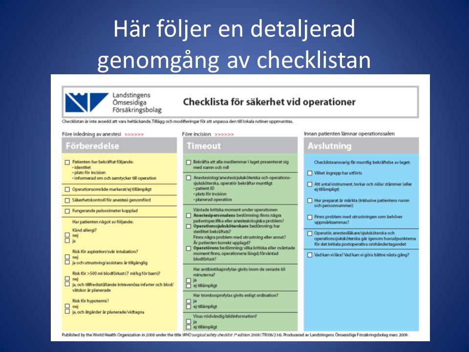 Här följer en detaljerad genomgång av checklistan