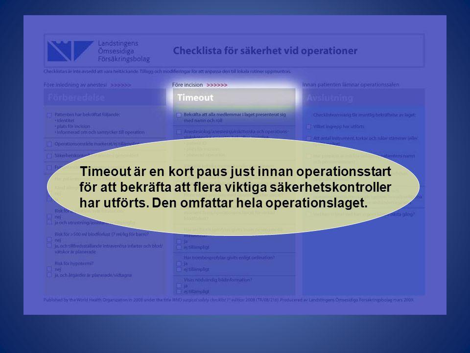 Timeout är en kort paus just innan operationsstart för att bekräfta att flera viktiga säkerhetskontroller har utförts.