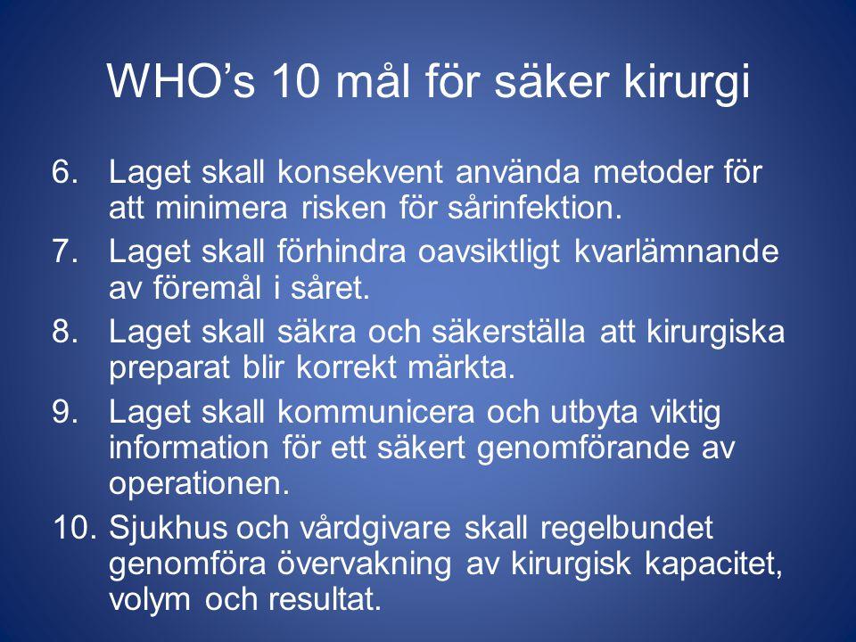 WHO's 10 mål för säker kirurgi