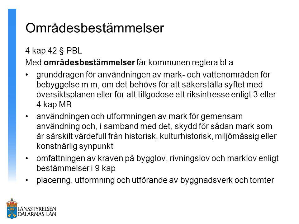 Områdesbestämmelser 4 kap 42 § PBL