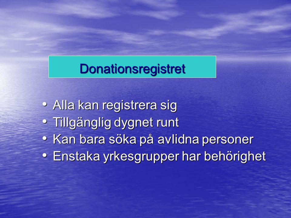Donationsregistret Alla kan registrera sig. Tillgänglig dygnet runt. Kan bara söka på avlidna personer.
