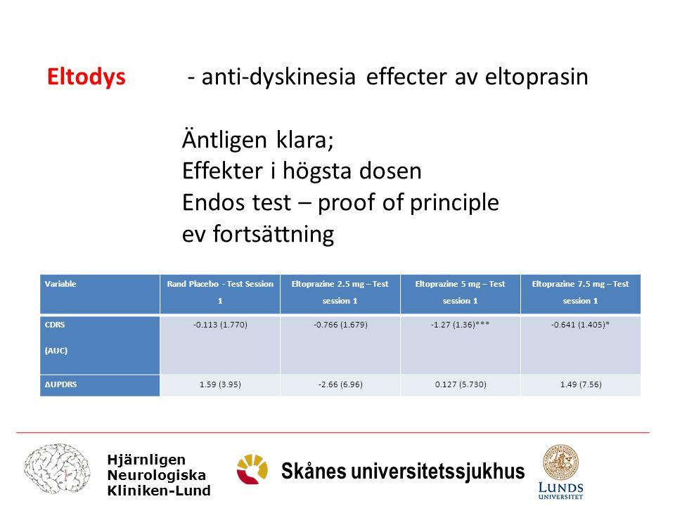 Eltodys - anti-dyskinesia effecter av eltoprasin Äntligen klara;