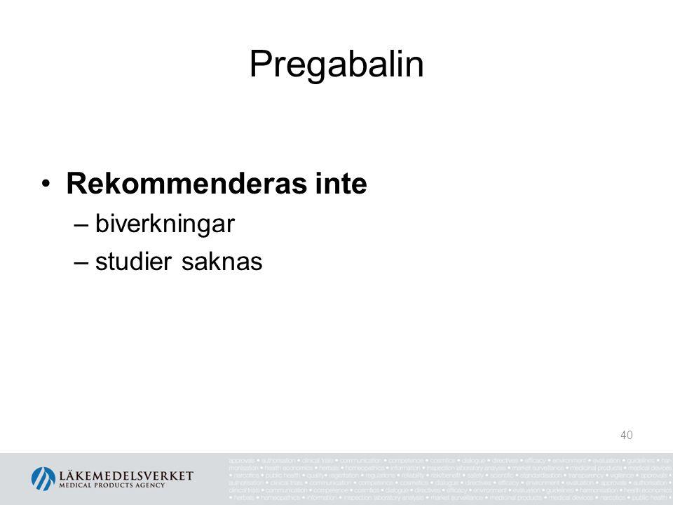 Pregabalin Rekommenderas inte biverkningar studier saknas