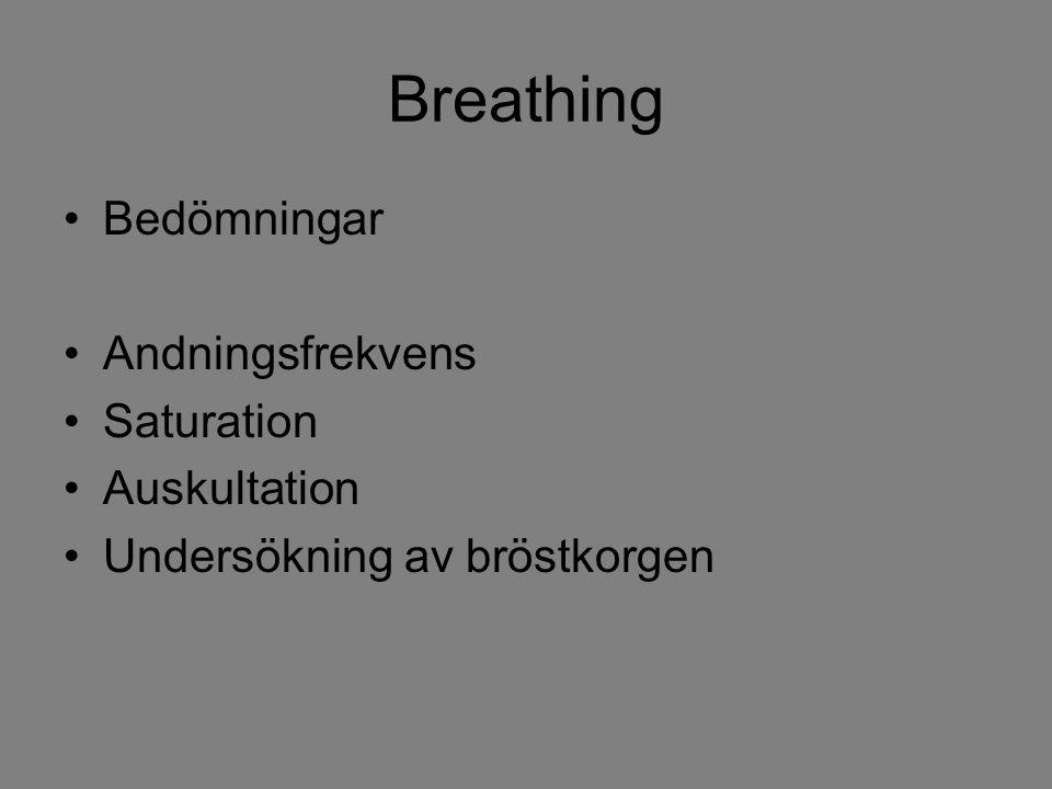 Breathing Bedömningar Andningsfrekvens Saturation Auskultation