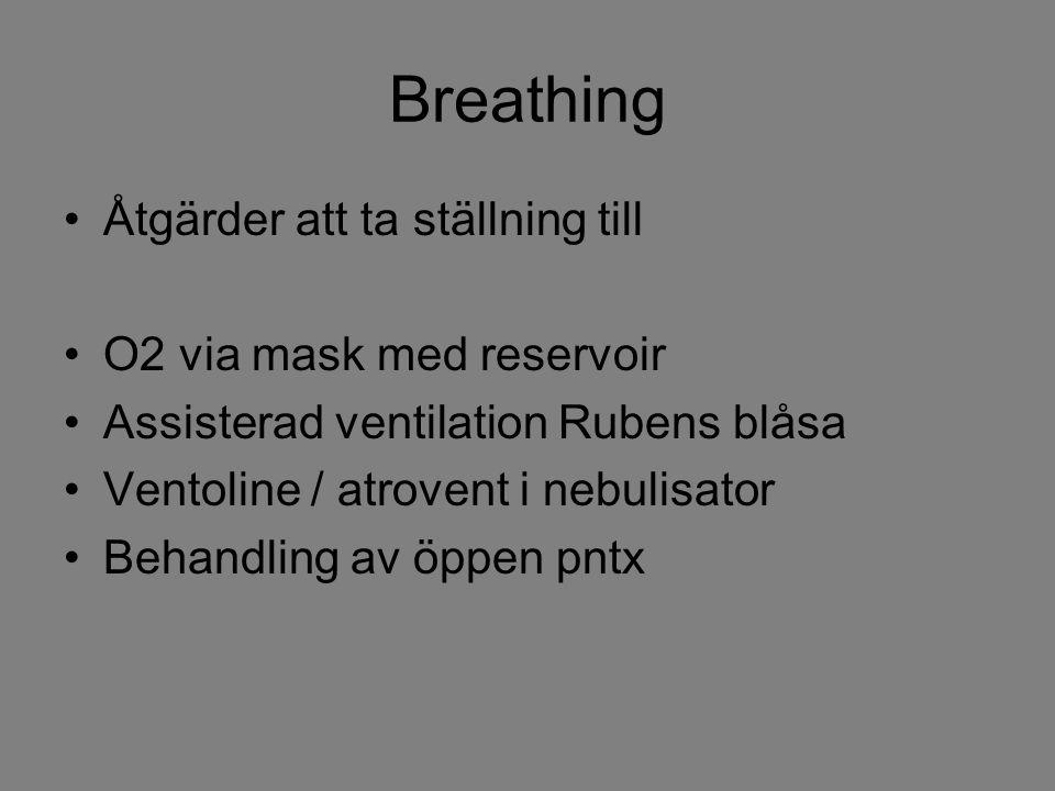 Breathing Åtgärder att ta ställning till O2 via mask med reservoir